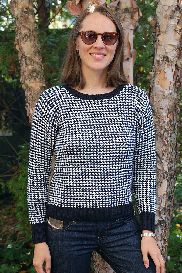 Knitting Pattern for 4 Row Repeat Houndstooth Sweater