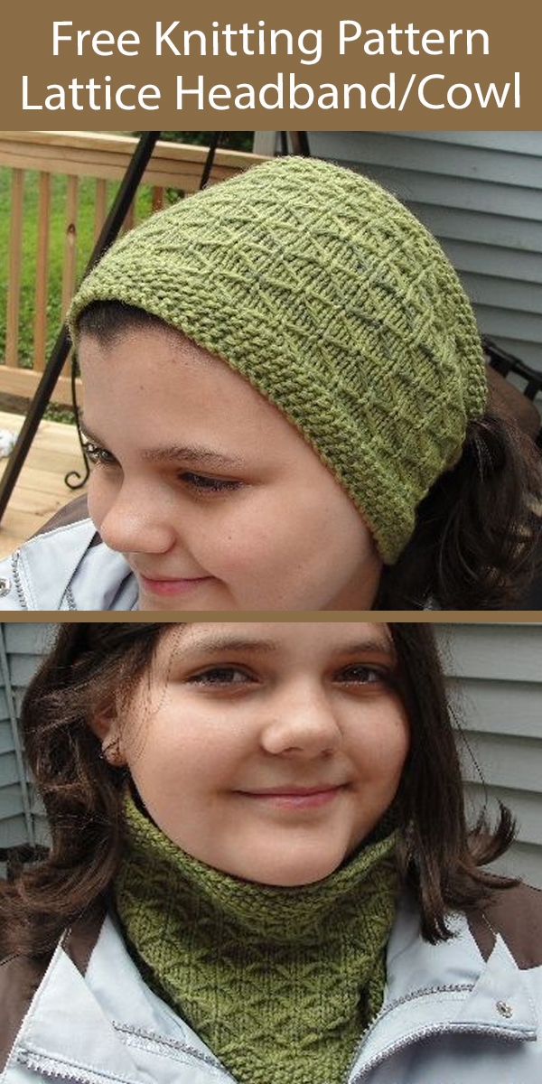 Free Knitting Pattern Lattice Cowl Headband