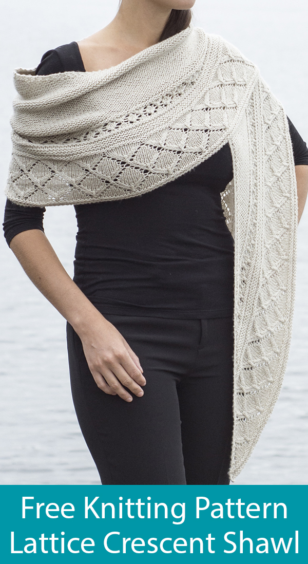 Free Knitting Pattern for Lattice Crescent Shawl
