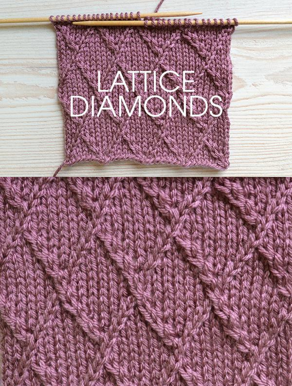 Lattice Diamonds Knitting Stitch