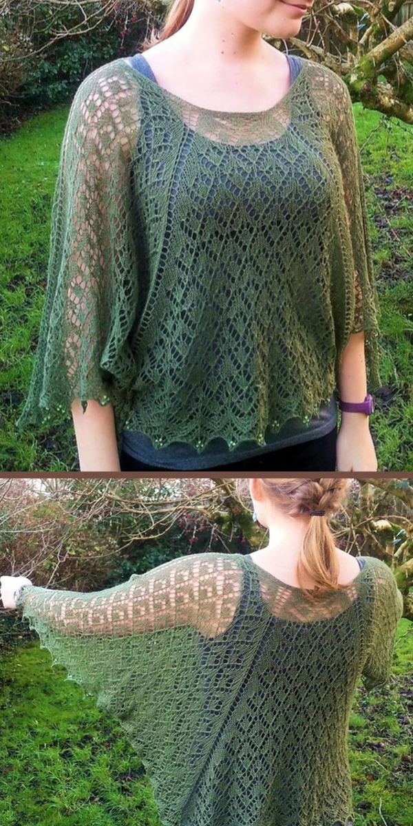 Knitting Pattern for Lavinia  Lace Poncho