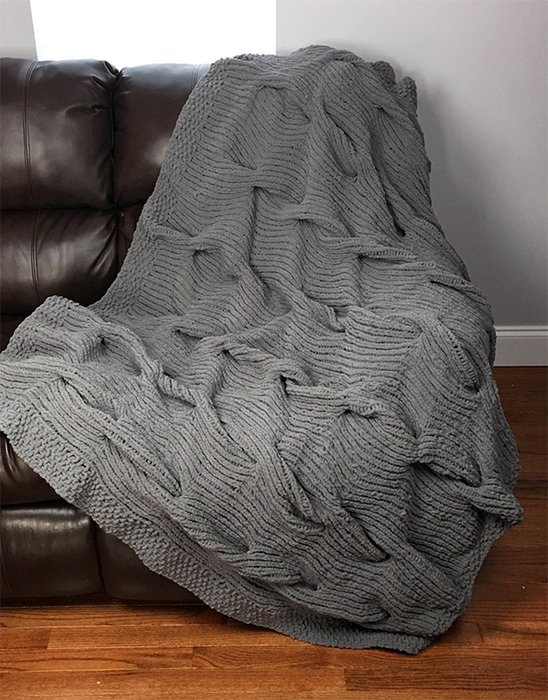 Knitting Pattern for Lazy Cable Blanket