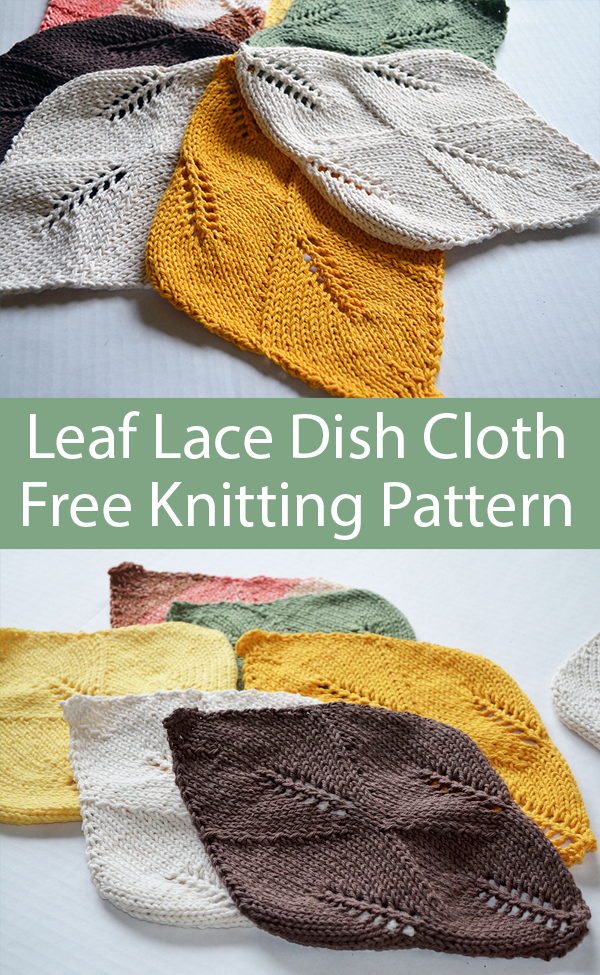 Free Knitting Pattern for Leaf Lace Dish Cloth