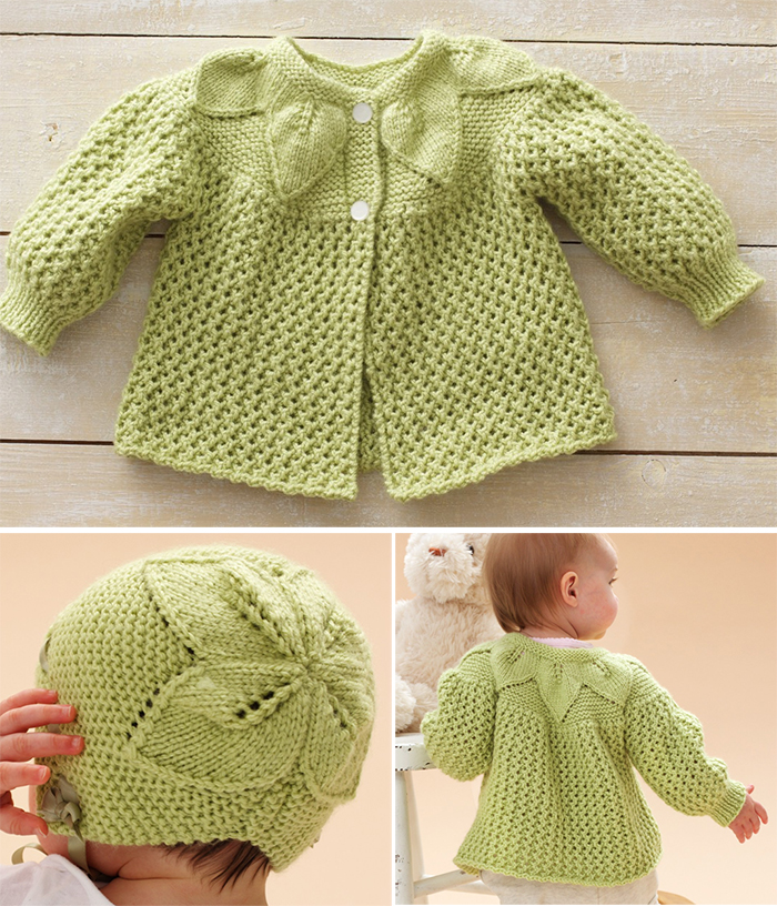 Free Knitting Pattern for Leaf and Lace Baby Set