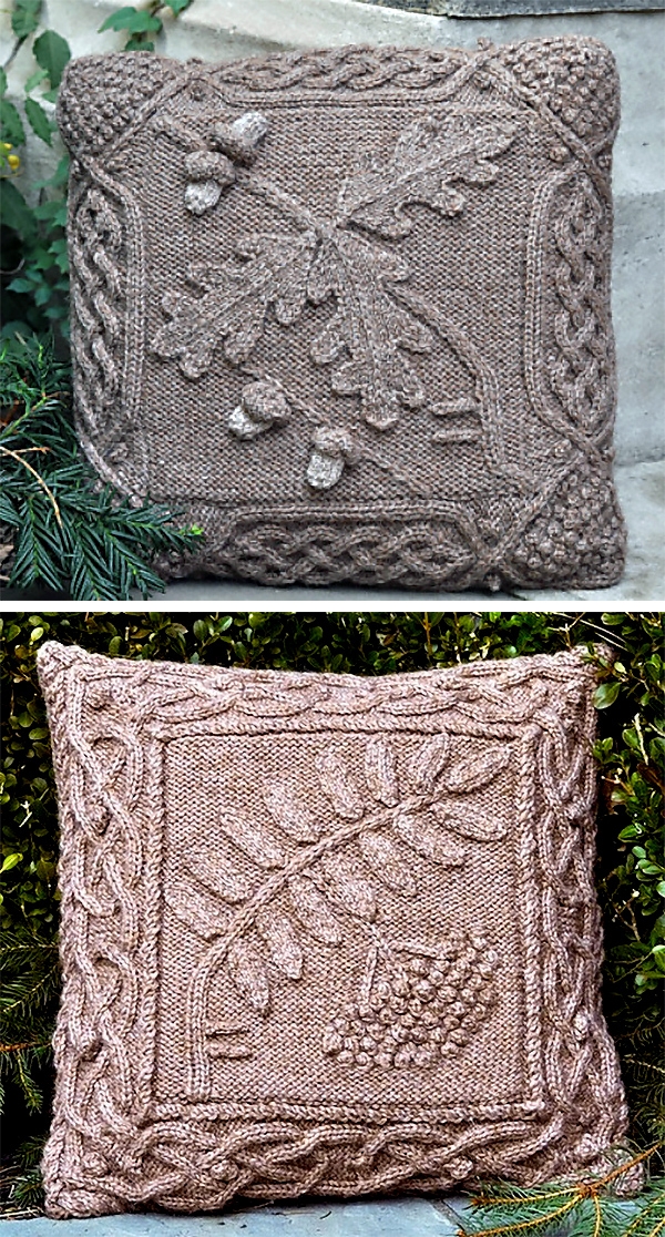 Knitting Pattern for Celtic Oak and Rowan Pillows