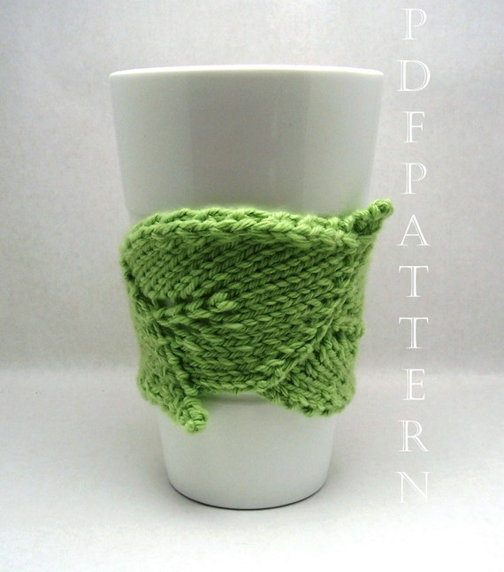 Knitting pattern for Leaf Cuddler cup cozy