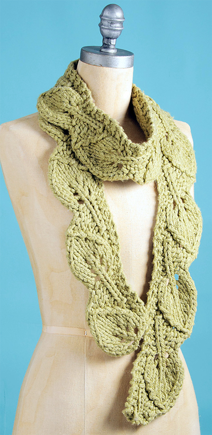 Free Knitting Pattern for Leaf Scarf