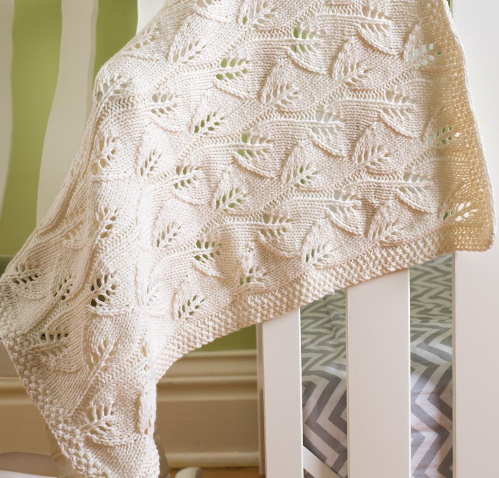 Free knitting pattern for Leafy Baby Blanket and more baby blanket knitting patterns