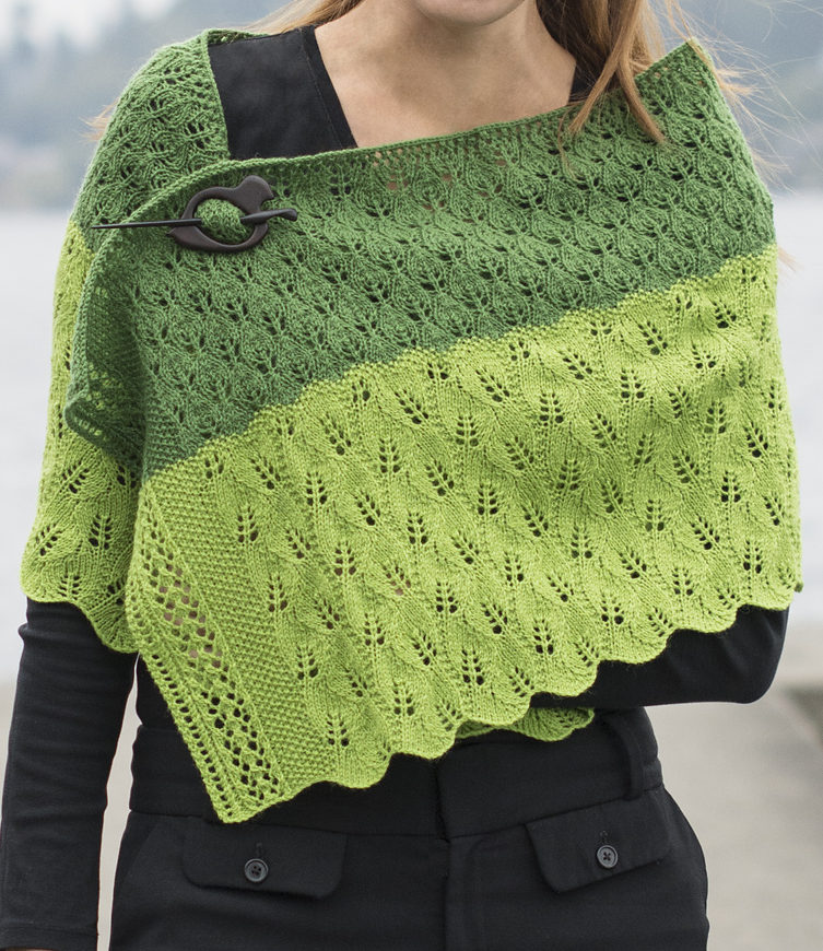 Free Knitting Pattern for Leafy Transitions Wrap