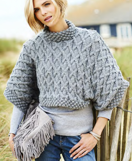 Free Knitting Pattern for Leonora Aran Tee