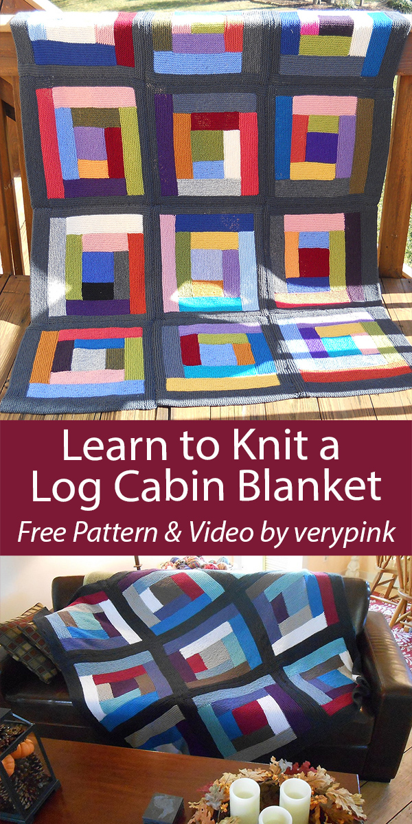 Learn to Knit a Log Cabin Blanket Free Shawl Free Knitting Pattern and Video by verypink