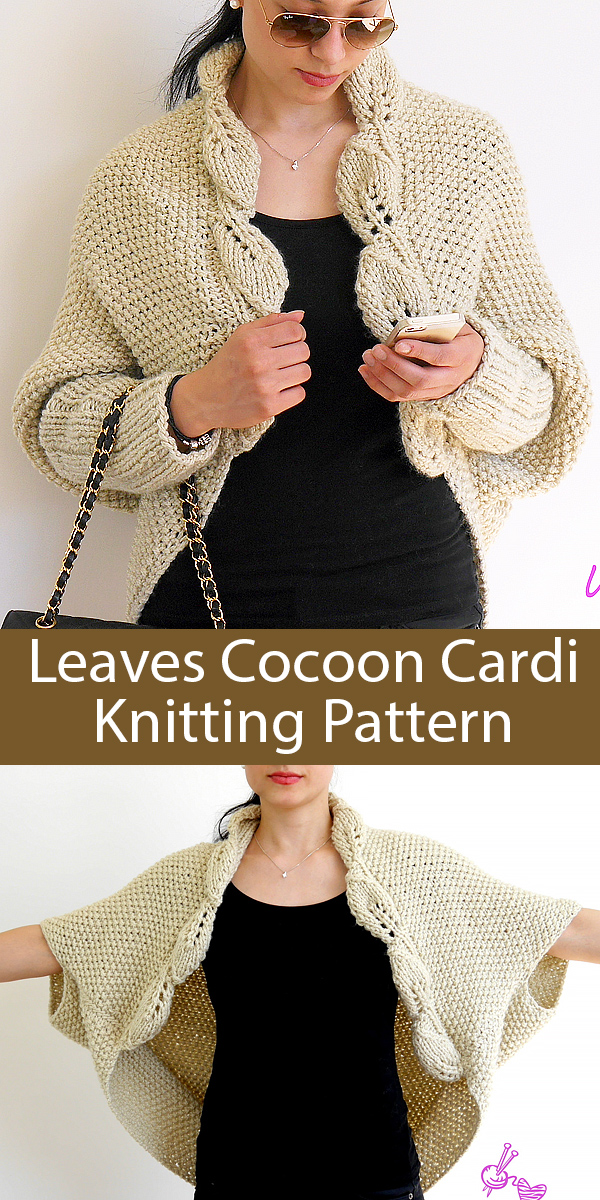 Knitting Pattern for Leaves Cocoon Cardigan