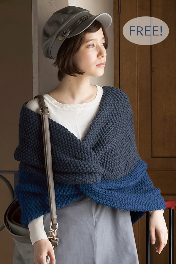 Free Knitting Pattern for Easy Leclair Cross Wrap