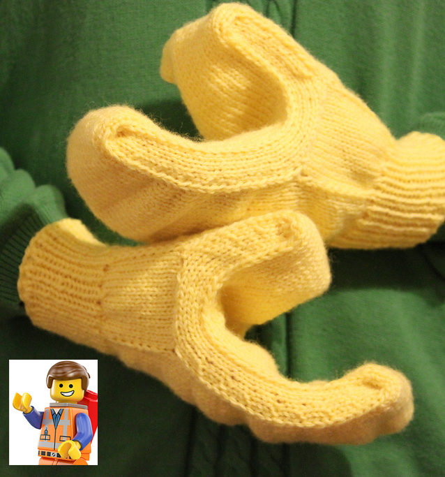 Free Knitting Pattern for Lego Hand Mittens