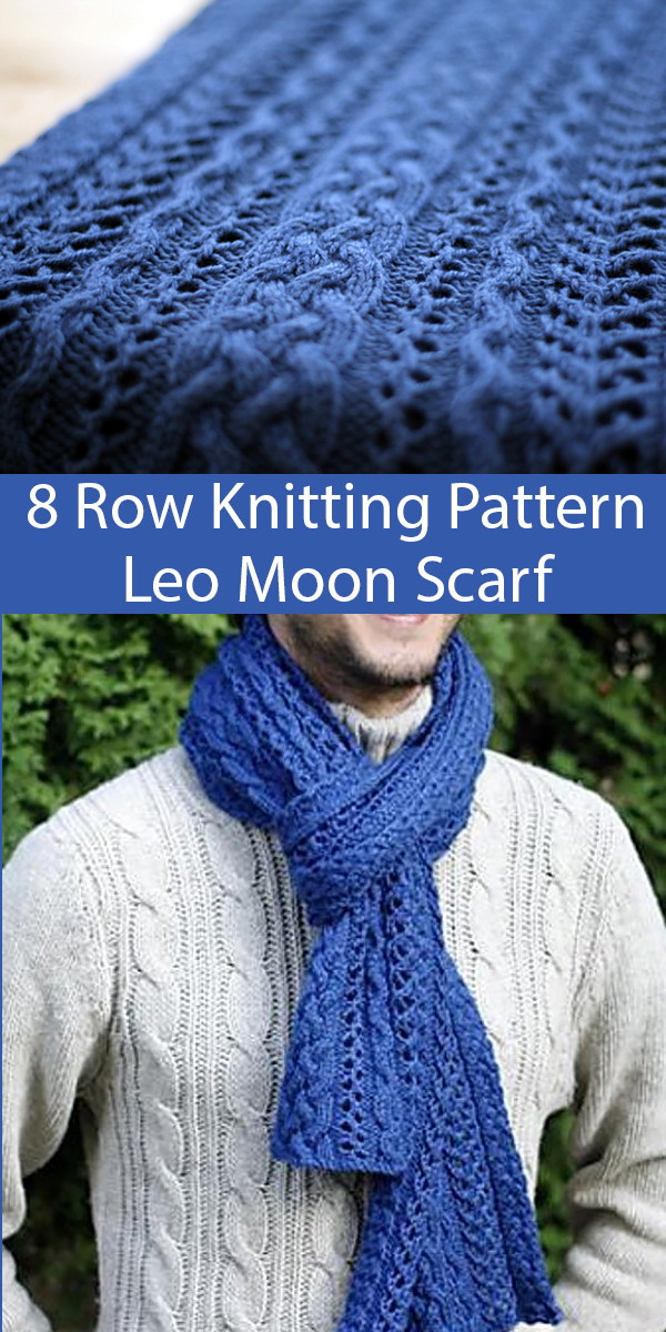 Knitting Pattern for 8 Row Repeat Leo Moon Scarf