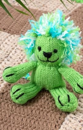 Free knitting pattern for Leon the Lion softie toy and more wild animal knitting patterns