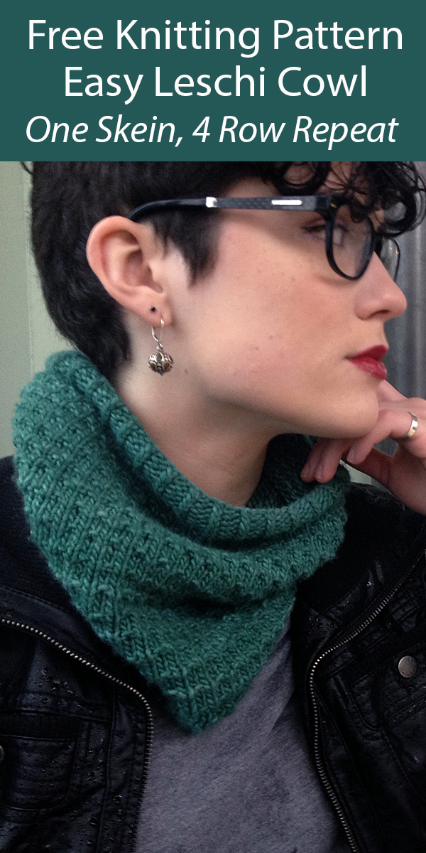 Free Cowl Knitting Pattern Easy Leschi Cowl