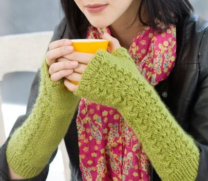 Free knitting pattern for Lettuce Lace Wristwarmers and more fingerless mitt knitting patterns