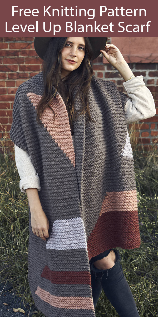 Free Scarf Knitting Pattern Level Up Blanket Scarf