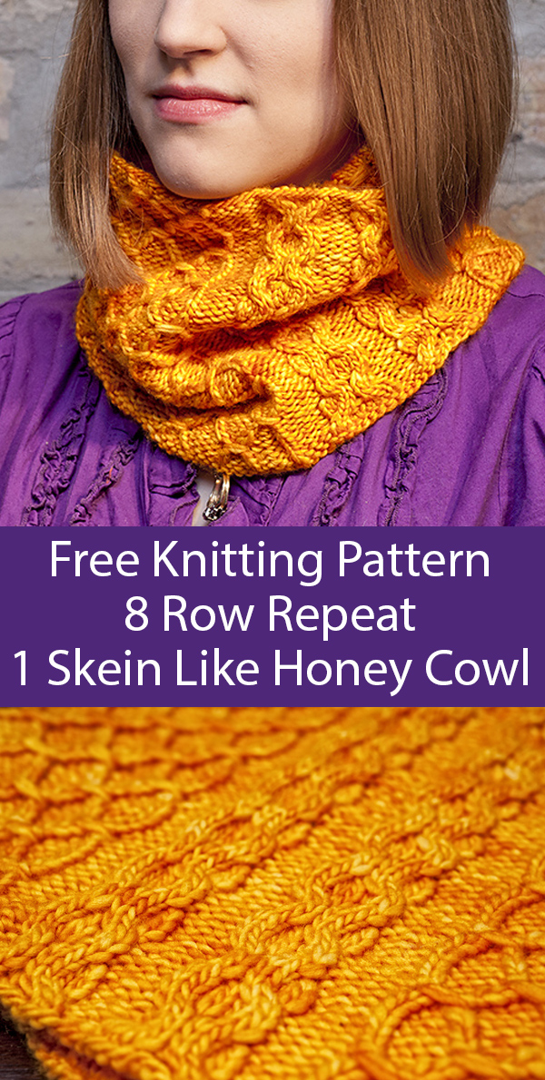 Free Knitting Pattern for 1 Skein 8 Row Repeat Like Honey Cowl