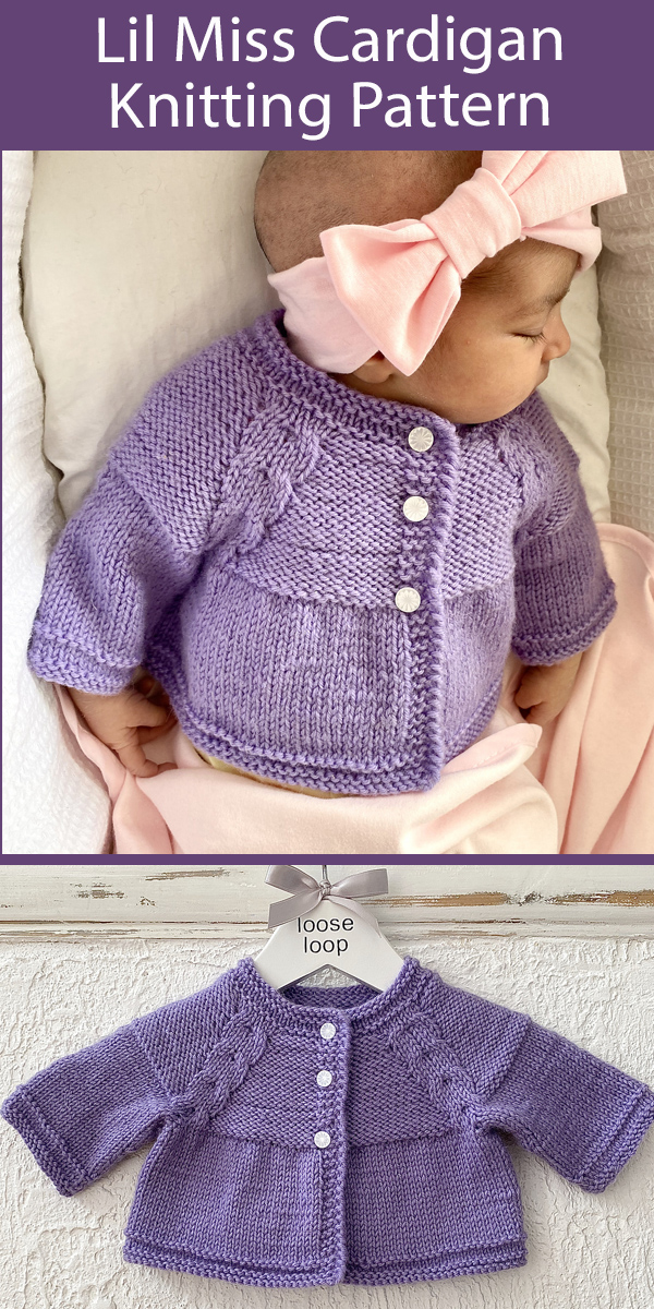 Baby Sweater Knitting Pattern Lil Miss Cardigan