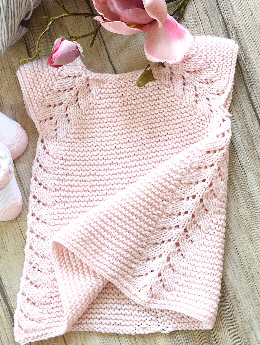 Knitting Pattern for Lil Rosebud Baby Dress