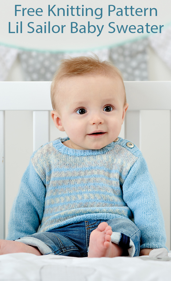 Free Knitting Pattern for Lil Sailor Baby Sweater