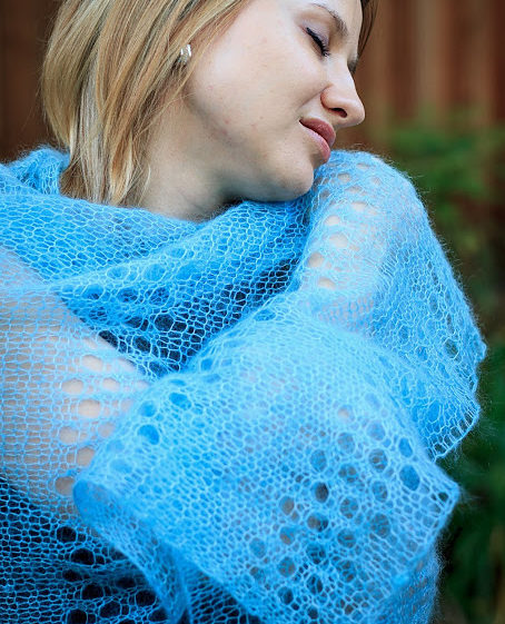 Free Knitting Pattern for Evelyne Shawl