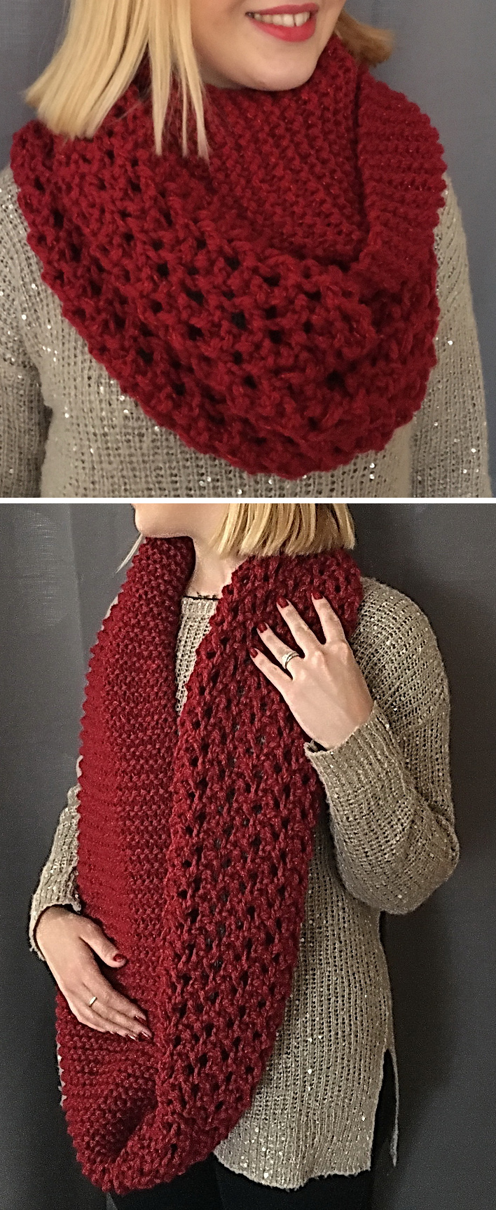 Free until Jan. 7, 2018 Only Knitting Pattern for Lily Red Snood