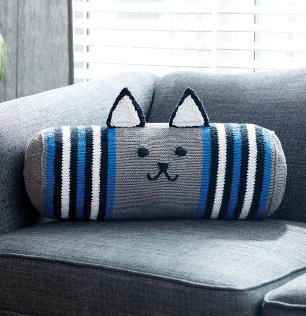 Free Knitting Pattern for Kitty Bolster Pillow