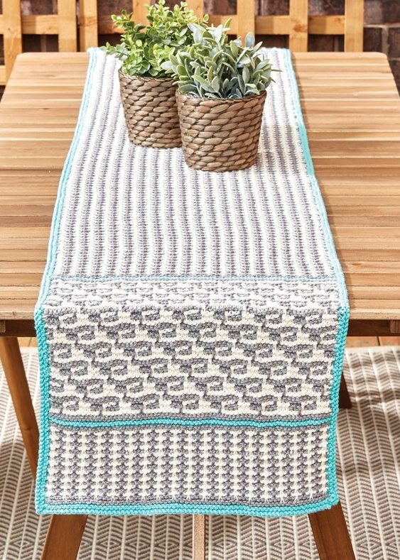 Free Knitting Pattern for Mosaic Table Runner