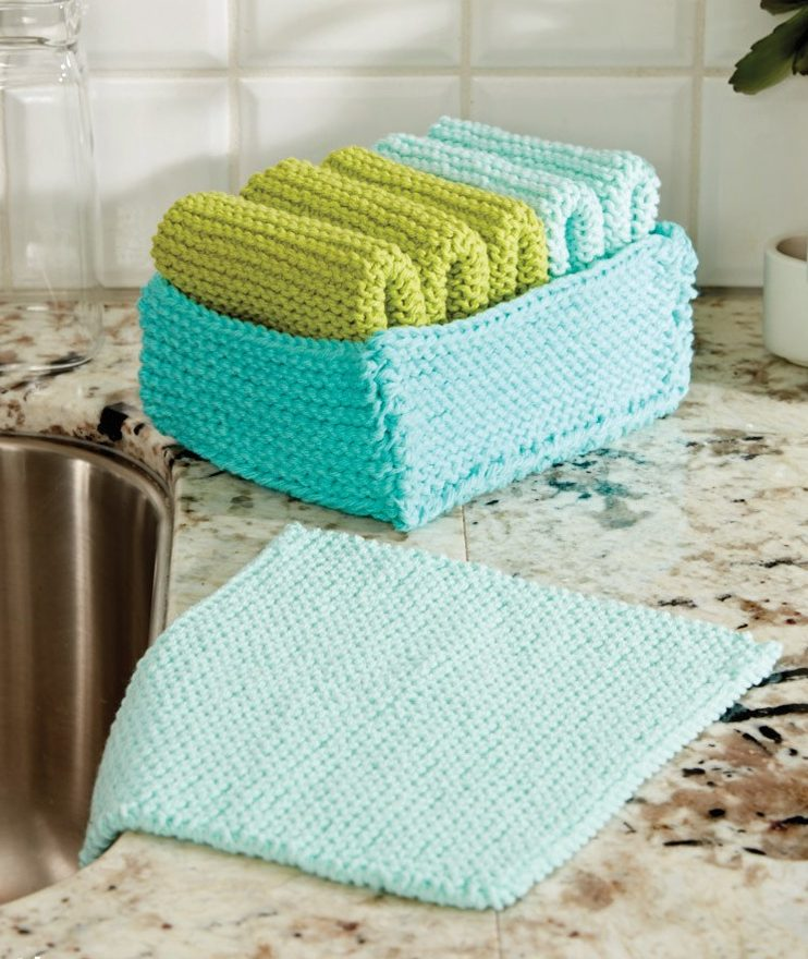 Free Knitting Pattern for Tidy Up Basket and Dishcloths