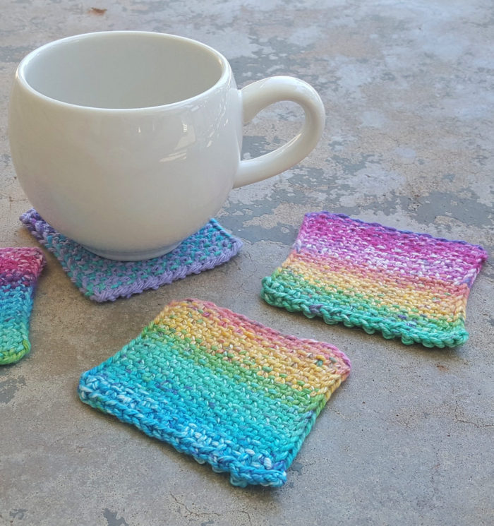 Free Knitting Pattern for Linen Stitch Coasters