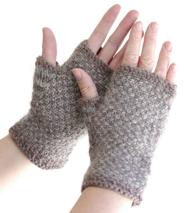 Free Knitting Pattern for Linen Stitch Mitts