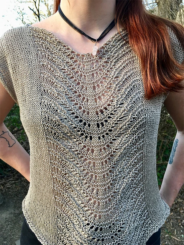 Free Knitting Pattern for Lace Panel Top