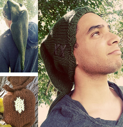 Knitting patterns for Link's Hat and Rupee Bag