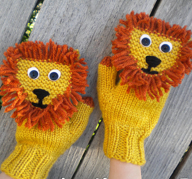 Knitting Pattern for Lion Mittens