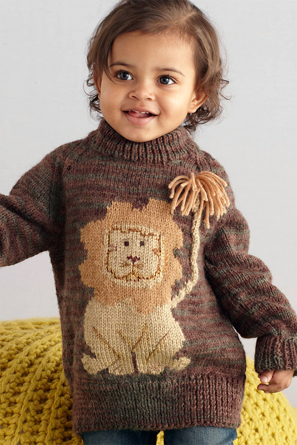 Free Knitting Pattern for Lion Pullover