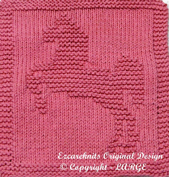 Knitting pattern for Lipizzaner Horse Wash Cloth