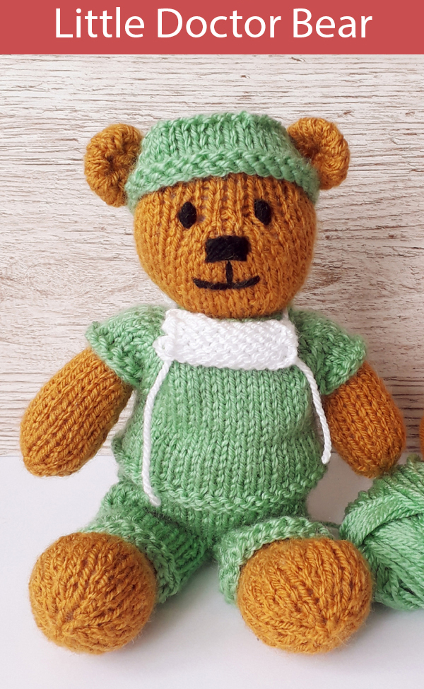 Knitting Pattern for Little Doctor Teddy Bear