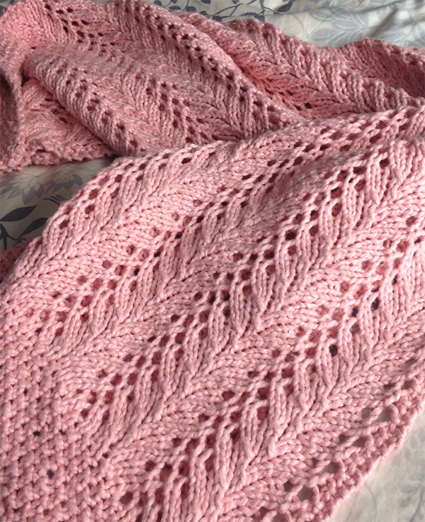 Free Knitting Pattern for 4 Row Repeat Little Dove Baby Blanket