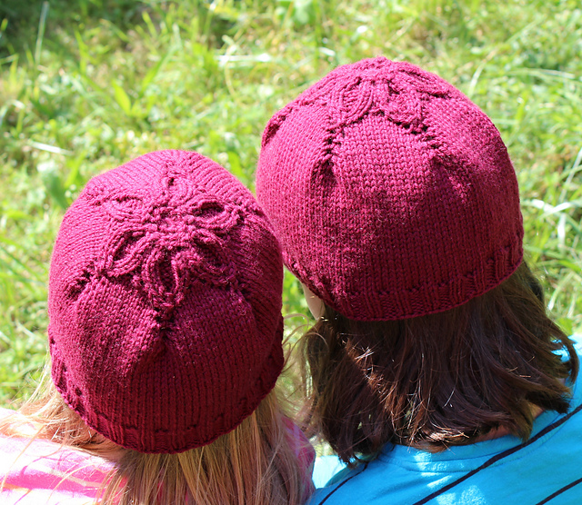 Free knitting pattern for Little Flower Hat in baby, child, and adult sizes