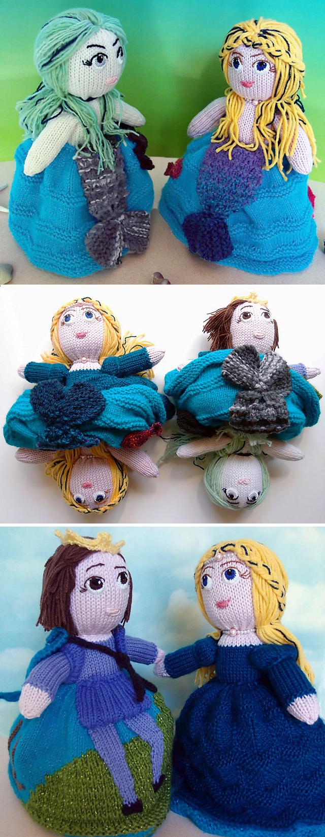 Knitting Pattern for Little Mermaid Topsy-Turvy Doll Set