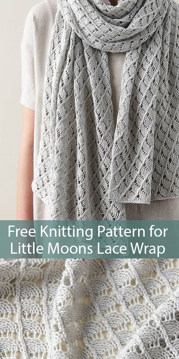 Free Knitting Pattern for Little Moons Lace Wrap
