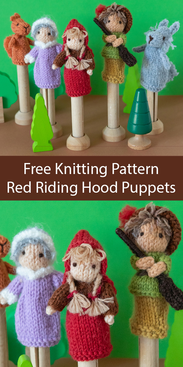 Free Knitting Pattern for Little Red Riding Hood Puppets