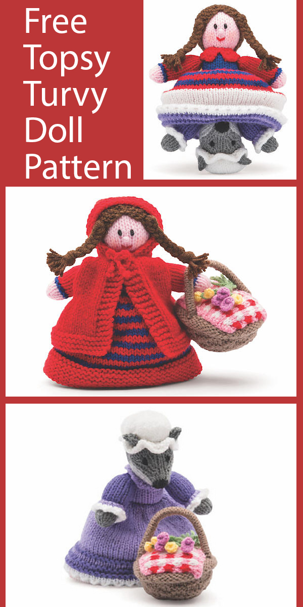 Free Doll Knitting Pattern Little Red Riding Hood Topsy Turvy Doll
