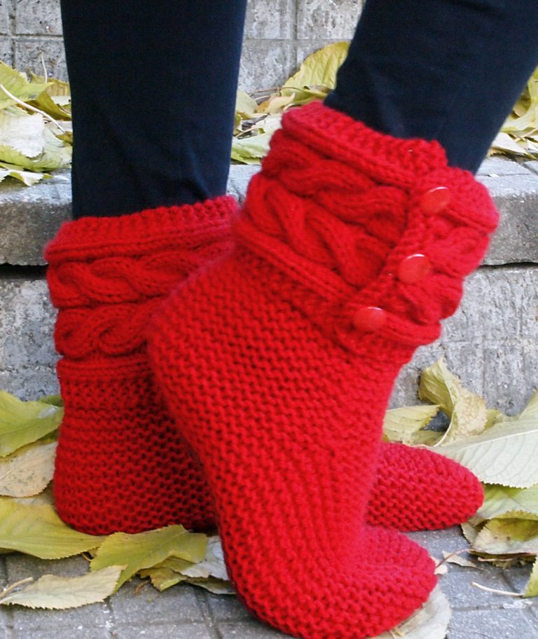 Free Knitting Pattern for Cable Cuff Boot Style Slippers