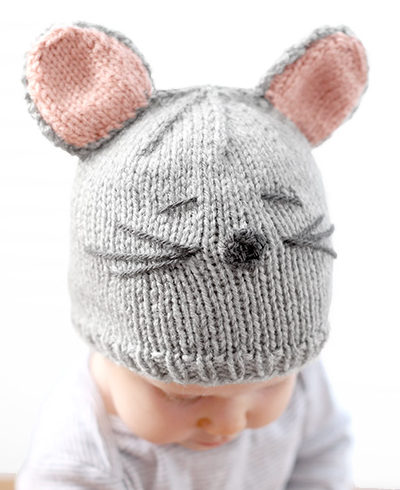 Free Knitting Pattern for Little Mouse Baby Hat