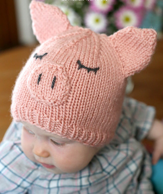 Free Knitting Pattern for Pig Baby Hat