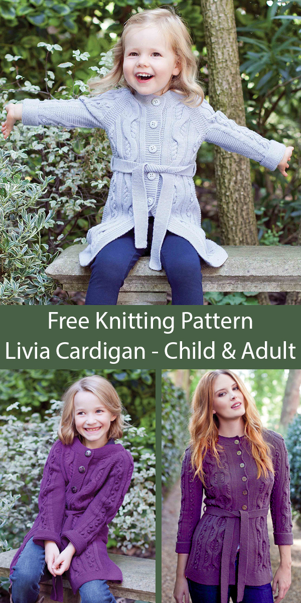 Free Knitting Pattern for Livia Child and Adult Cardigan